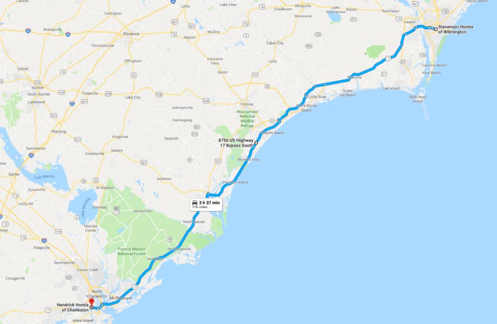 google map of the honda dealers