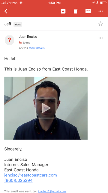 The salesperson sent me a personalized video