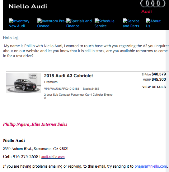 The response to a car sales lead