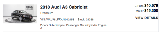 The pricing of the Audi