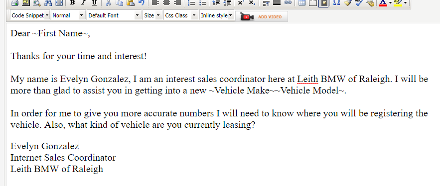 picture of a template that is part of my internet car sales training