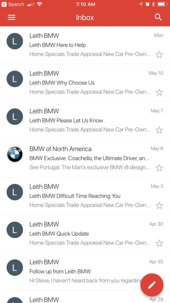 follow up sales email after no response example from leith bmw