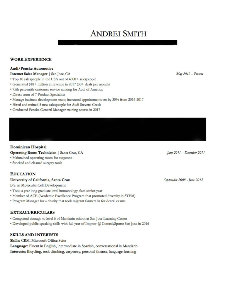 this is a copy of my resume for the article 'car salesman job description for resume'